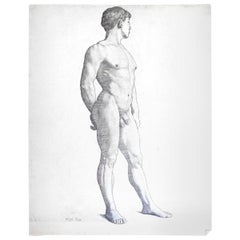 """Three-Quarters Standing Male Nude,"" Drawing by Allyn Cox, US Capitol Muralist"