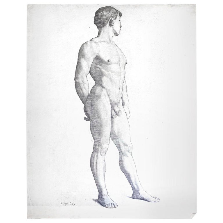"""""""Three-Quarters Standing Male Nude,"""" Drawing by Allyn Cox, US Capitol Muralist For Sale"""