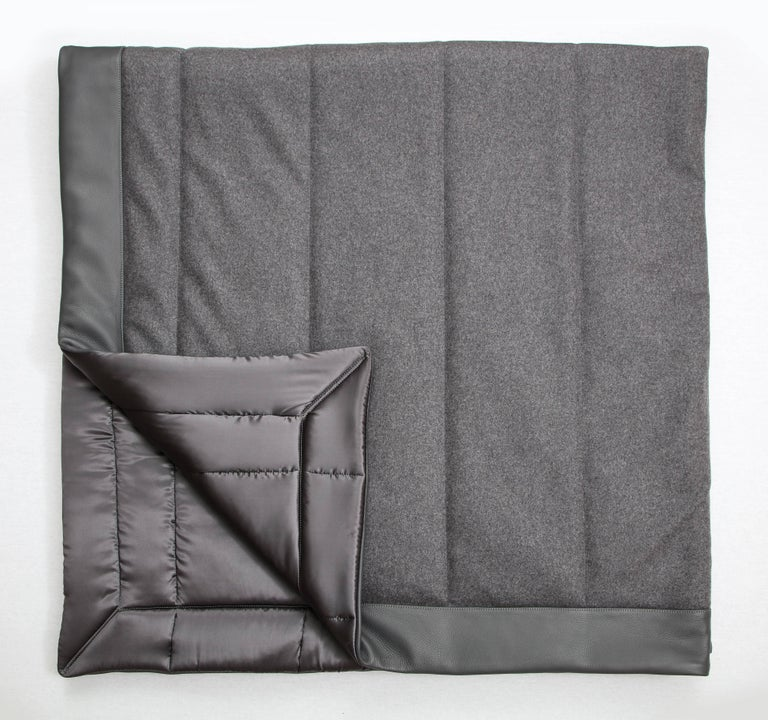 Brushed Three Quilt Collection Leather & Cashmere by Rafael De Cardenas & Mel Ottenberg For Sale