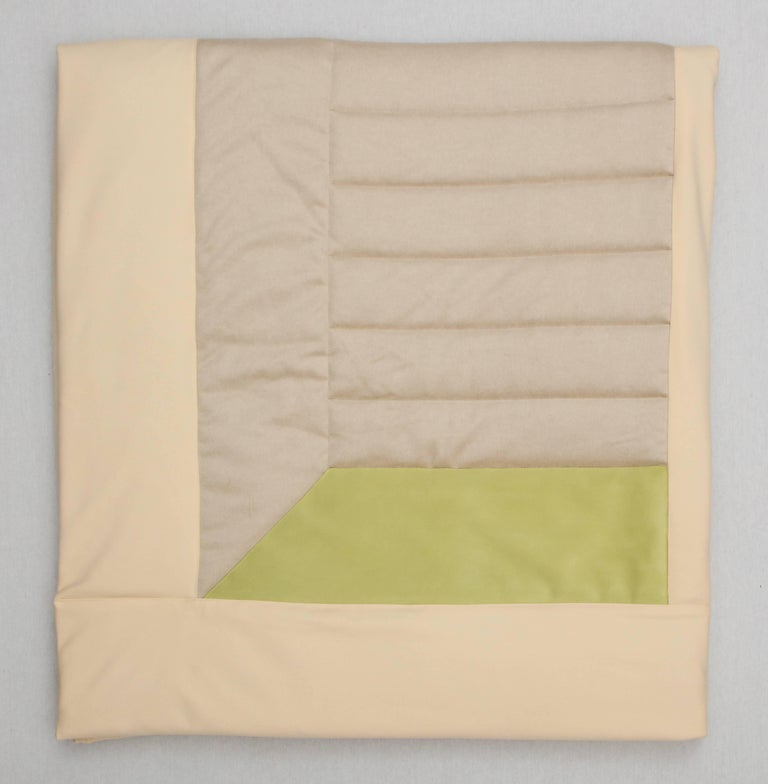 Silk, Wool, Suede Cream & Chartreuse Quilt by Rafael De Cardenas & Mel Ottenberg In New Condition For Sale In Brooklyn, NY