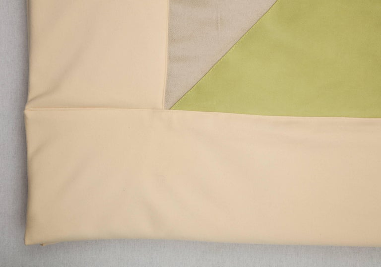 Silk, Wool, Suede Cream & Chartreuse Quilt by Rafael De Cardenas & Mel Ottenberg For Sale 1