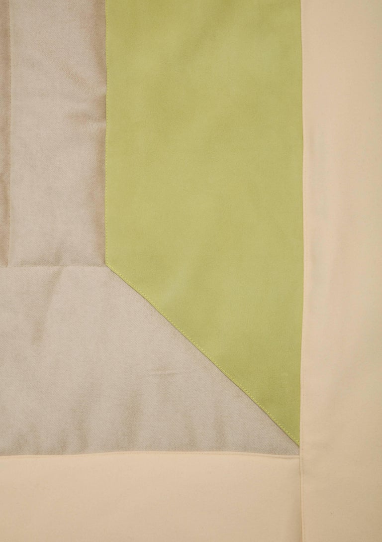 Silk, Wool, Suede Cream & Chartreuse Quilt by Rafael De Cardenas & Mel Ottenberg For Sale 2