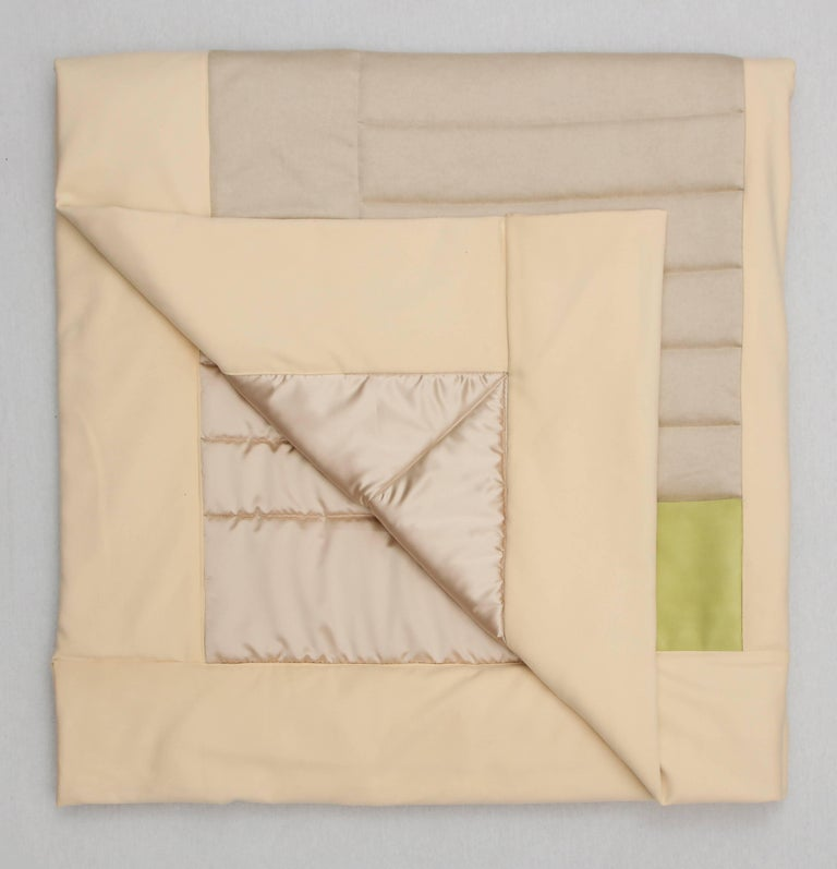 Silk, Wool, Suede Cream & Chartreuse Quilt by Rafael De Cardenas & Mel Ottenberg For Sale 3