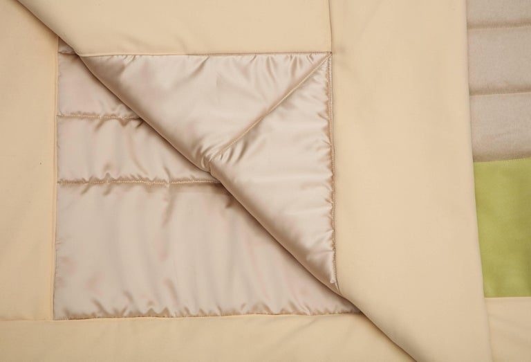 Silk, Wool, Suede Cream & Chartreuse Quilt by Rafael De Cardenas & Mel Ottenberg For Sale 4