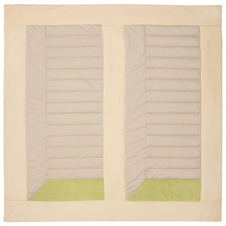 Silk, Wool, Suede Cream & Chartreuse Quilt by Rafael De Cardenas & Mel Ottenberg For Sale