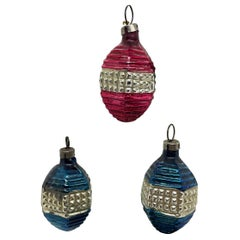 Three Rare Lampions Christmas Ornaments Vintage, German, 1910s