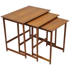 Three Rasmus Solberg Westnofa Midcentury Danish Modern Teak Nesting Side Table