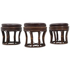 Three Rattan Stools