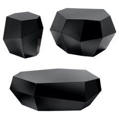 Three Rocks Tables 'Set of 3', Black Glass, Insidherland by Joana Santos Barbosa