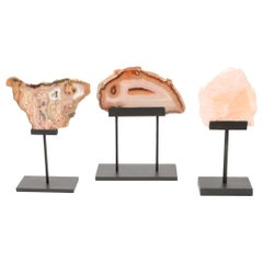 Three Rose Quartz and Agate Vintage Raw Stones Sculptures Vintage
