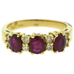 Three Round Ruby and Diamond in Yellow Gold Half Eternity Ring