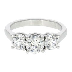 Three Rounds Diamond Platinum Engagement Ring