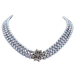 Three-Row Akoya Pearl and Old European Cut Diamond Necklace, circa 1920s