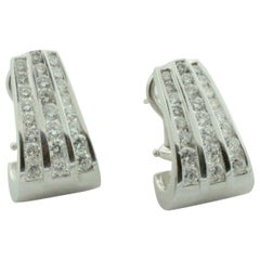 Three-Row Channel Set Classic Diamond Hoop Earrings in White Gold 2.65 Carat