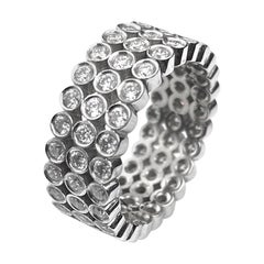 Three-Row Diamond Bezel Ring in White Gold