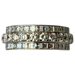 Three Row Diamond Eternity Band 4.50 Carat in 18 Karat White Gold