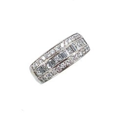 Three-Row Diamond Platinum Wedding Band by JB Star