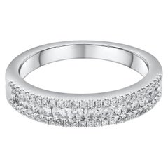 Roman Malakov Three-Row Diamond Wedding Band in 18 Karat White Gold
