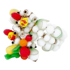 "Three Row ""Fruit Salad"" Beaded Cuff Bracelet By Hobé, 1950s"