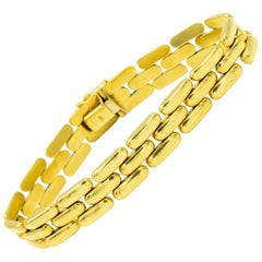 Three-Row Gold Bar Link Panthere 18 Karat Yellow Gold Bracelet
