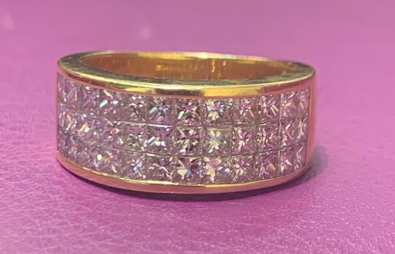 Three Row Men's Diamond Ring Band set in 18K Yellow Gold Diamond Weight: Approx 2.00 Cts Ring Size: 11