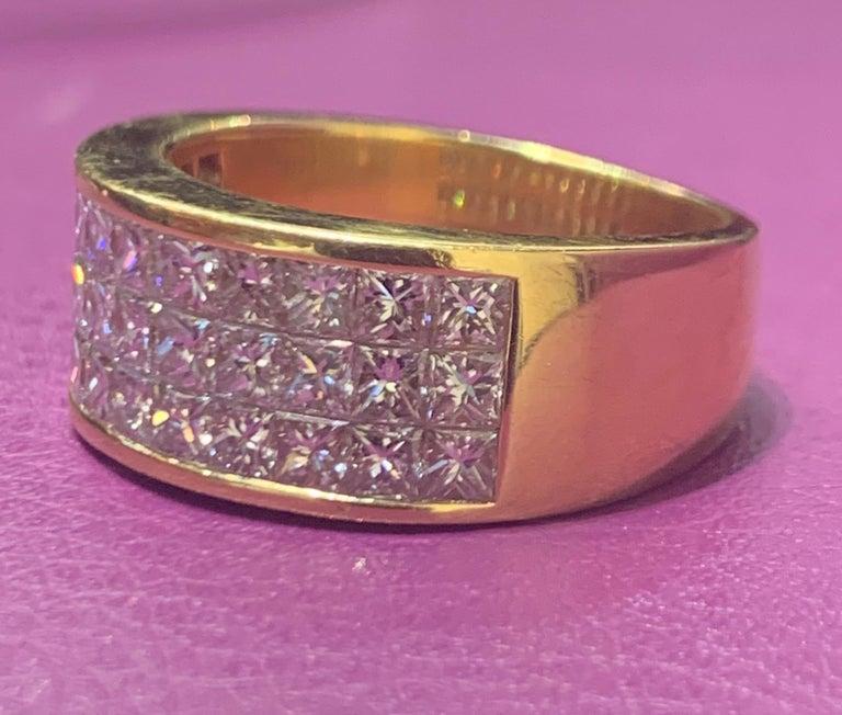 Princess Cut Three-Row Men's Diamond Ring Band For Sale