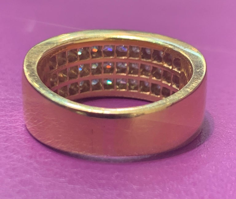 Three-Row Men's Diamond Ring Band In Excellent Condition For Sale In New York, NY