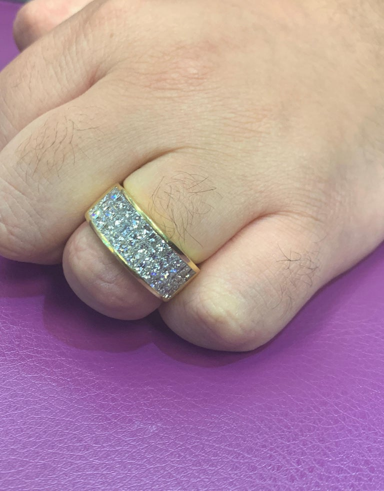 Three-Row Men's Diamond Ring Band For Sale 1