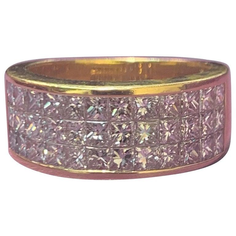 Three-Row Men's Diamond Ring Band For Sale