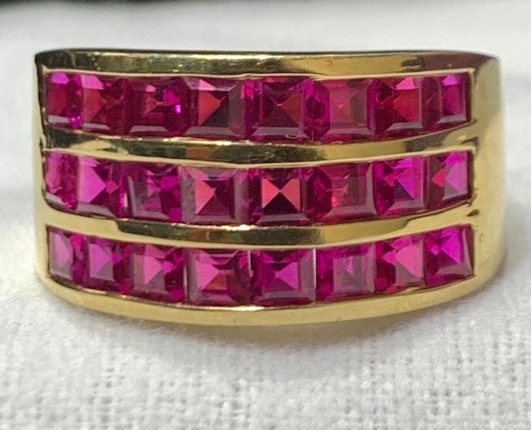 Three Row Men's Ruby Ring 18K Yellow Gold  24 Rubies Ring Size: 9.25