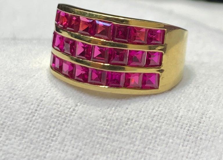 Princess Cut Three-Row Men's Ruby Ring For Sale