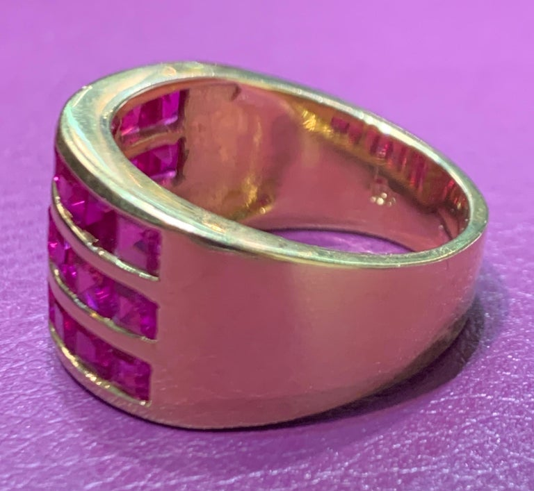 Three-Row Men's Ruby Ring For Sale 2