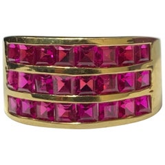 Three-Row Men's Ruby Ring