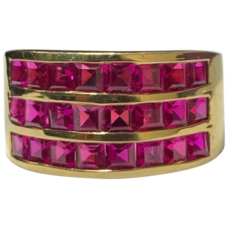 Three-Row Men's Ruby Ring For Sale