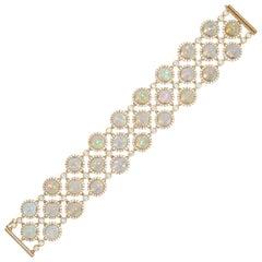 Three-Row Opal Bracelet with Diamonds