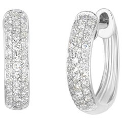 Three-Row Pave Earrings, White Gold, Ben Dannie