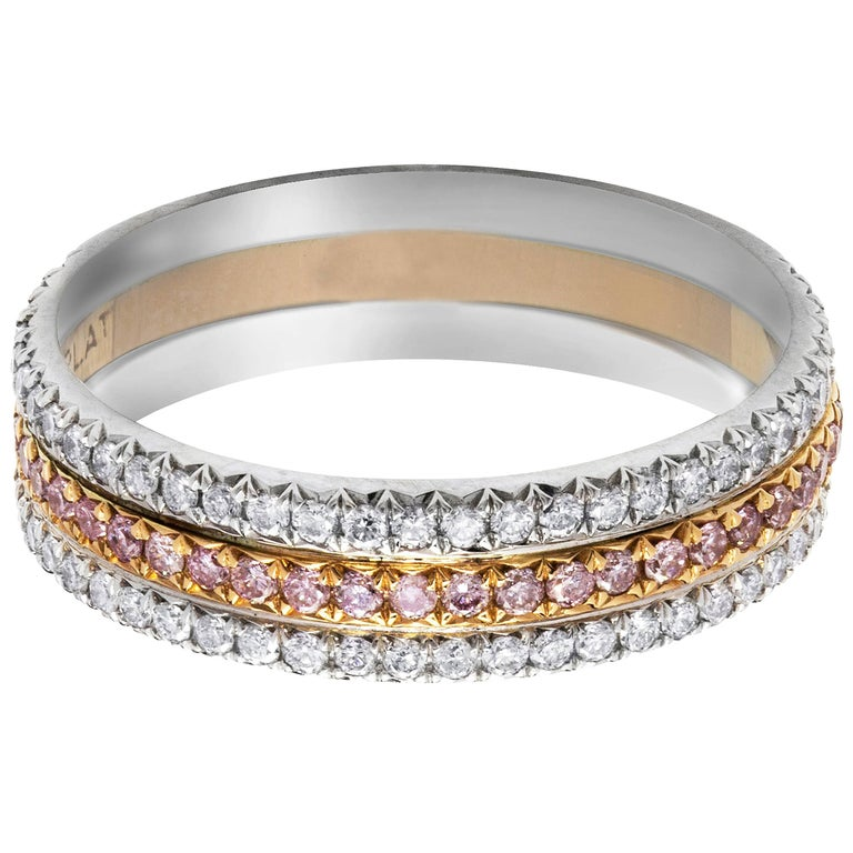 505a8ffe8b9 Three-Row Pink and White Diamond Wedding Band For Sale at 1stdibs