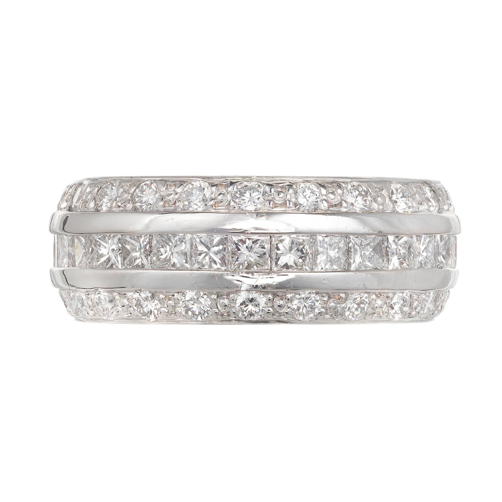 Three-Row Princess Round Cut Diamond White Gold Band Ring