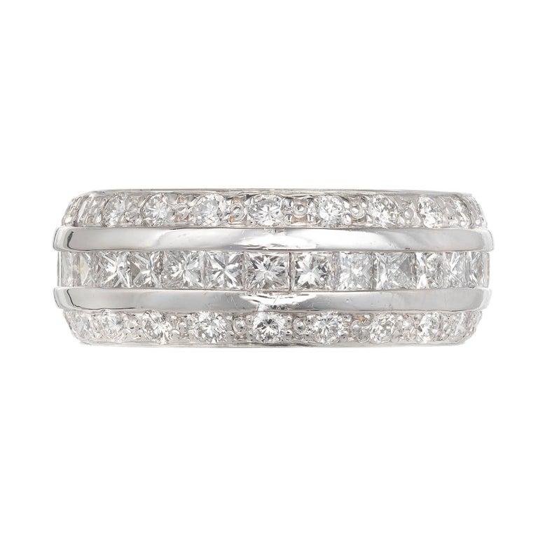 7918cb653a4 Three-Row Princess Round Cut Diamond White Gold Band Ring For Sale ...