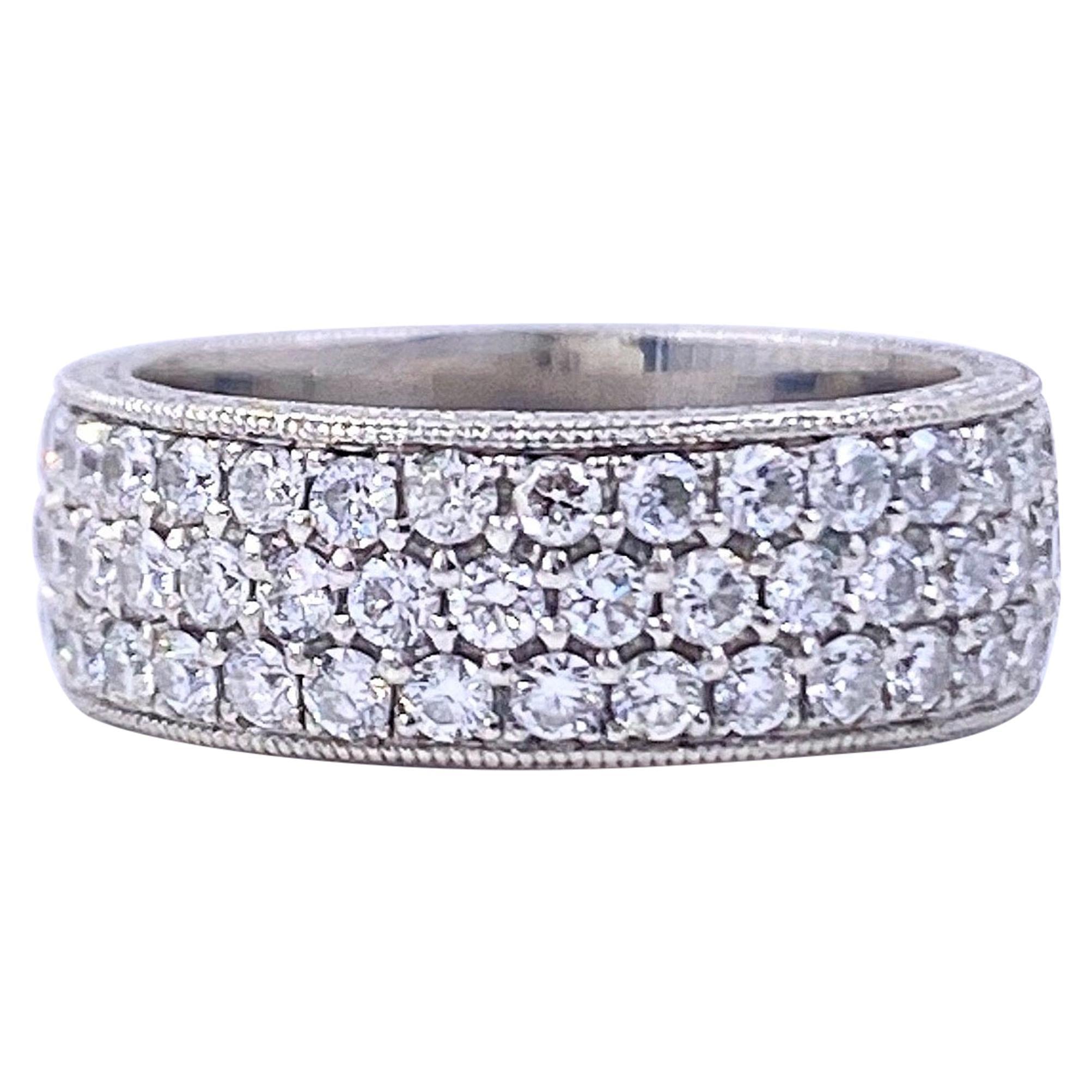 Three-Row Round Diamond Eternity Band Ring 2.04 Carat Platinum