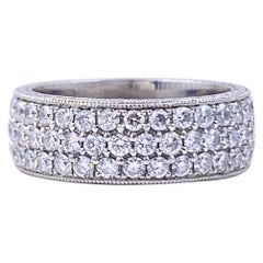 Three-Row Round Diamond Eternity Band Ring 2.04 Carat Platinum