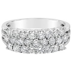 Three-Row Round Diamond Half-Way Ring