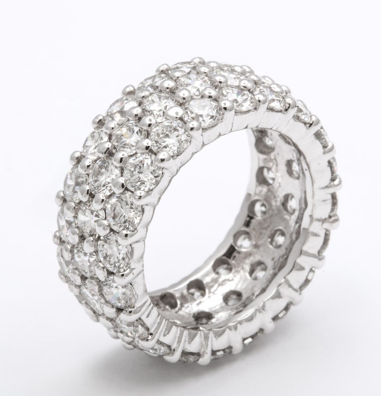 Round Cut Three-Row Round Wide Diamond Eternity Band For Sale