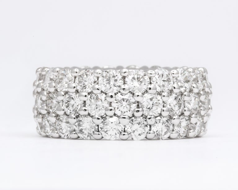 Three-Row Round Wide Diamond Eternity Band For Sale 1