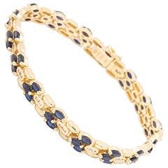 Three-Row Sapphire and Diamond Bracelet