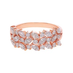 Three Rows Marquise Cut Diamond Unique Wedding Ring Band 18k Rose Gold