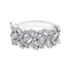 Three Rows Marquise Cut Diamond Unique Wedding Ring Band 18k White Gold
