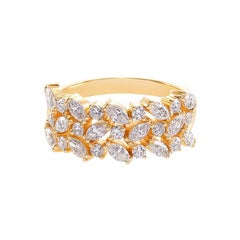 Three Rows Marquise Cut Diamond Unique Wedding Ring Band 18k Yellow Gold