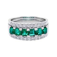Three-Rows Square Cut Emerald and Round Brilliant Cut Diamond Wedding Ring