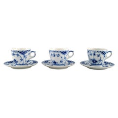 Three Royal Copenhagen Blue Fluted Half Lace Coffee Cups with Saucers, 1980s